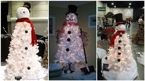 creative white christmas tree snowman diply