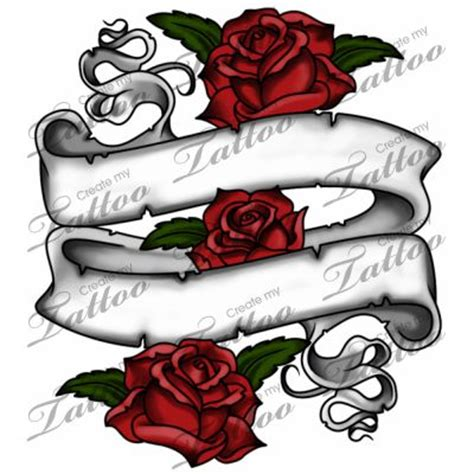 rose and banner tattoo designs marketplace banner 3614 createmytattoo