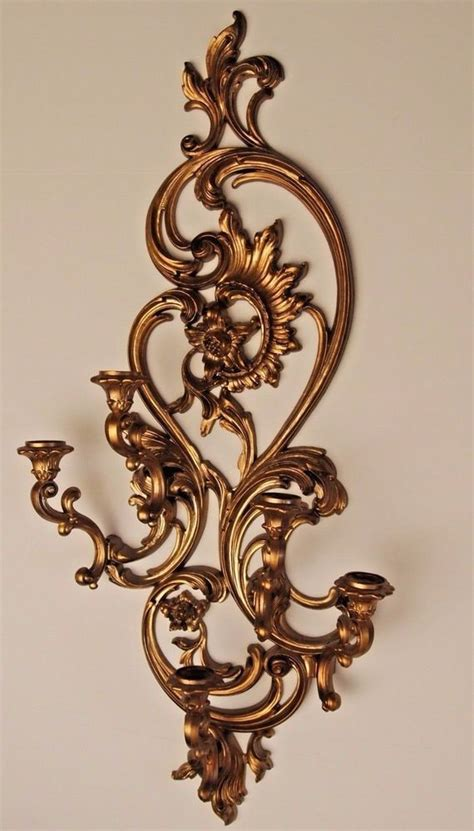 Home Interiors Sconces by Vtg Home Interior Homco 5 Arm Wall Sconce 5 Wheat Etched