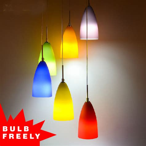 colored pendant lights bulb free 3 heads 6 colored pendant light deco rainbow