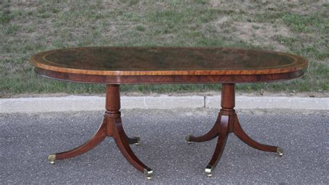 pedestal table with leaf large oval mahogany double pedestal dining room table with