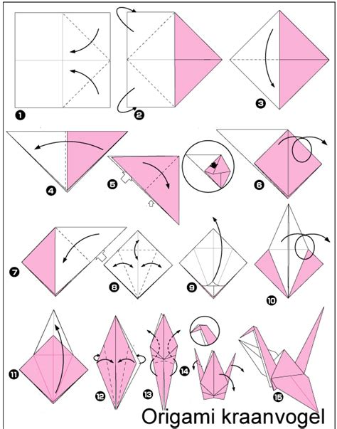 How To Fold A Paper Crane For Beginners - origami kraanvogels op origami bal document