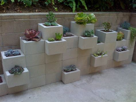 cinder block garden potted s cinder block planter wall
