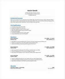 bartending resume templates bartender resume template 6 free word pdf document