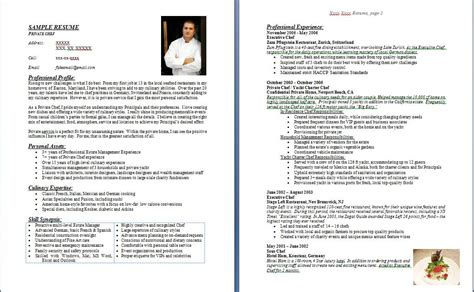 personal chef resume sle resume for cooking instructor