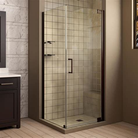 Bronze Shower Doors Frameless Shop Dreamline Elegance 34 In To 34 In W Frameless