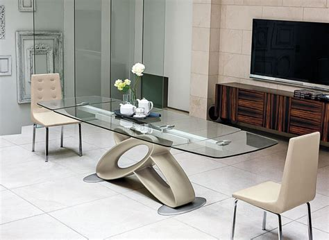 contemporary glass dining room tables eclipse modern rectangular extending glass dining table