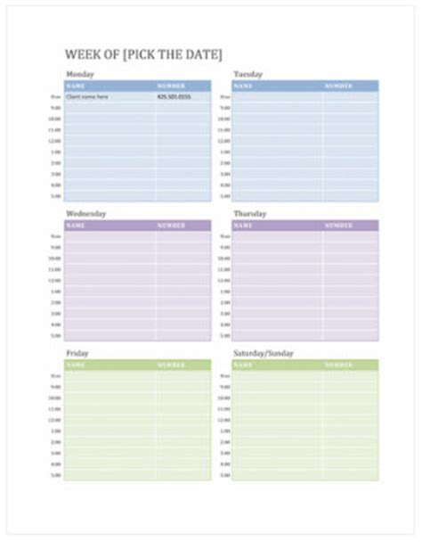 publisher weekly calendar template free weekly calendar templates on office excel