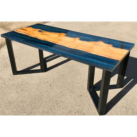 river coffee table yew wood blue resin river coffee table