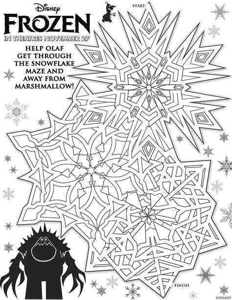 printable snowflake maze frozen movie trailer and free printable activity sheets