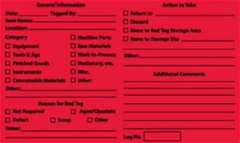 5s Red Tag Labels 5 Pack 5s Tag Template