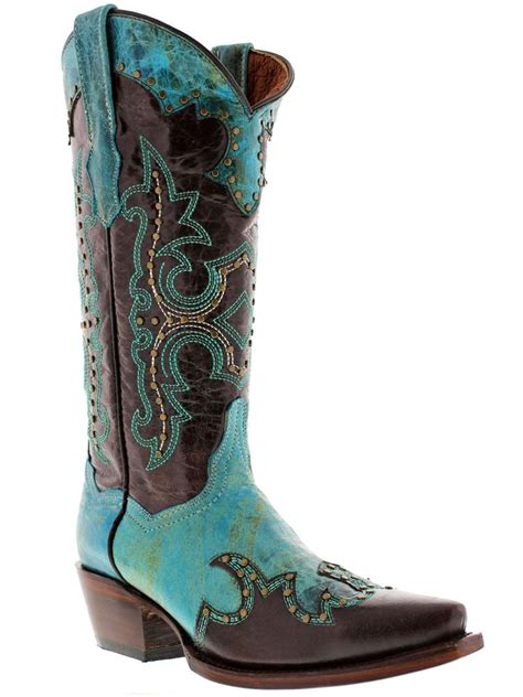 womens studded brown turquoise western cowboy