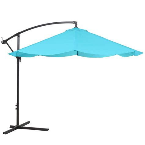Hanging Patio Umbrella Garden 10 Ft Offset Aluminum Hanging Patio Umbrella In Blue M150008 The Home Depot