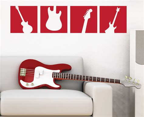Guitar Wall Stickers guitar wall decal squares vinyl wall art sticker boy
