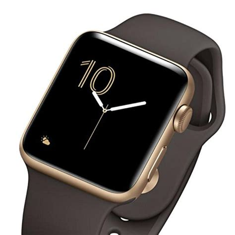 apple series 2 42mm gold aluminum with cocoa sport band
