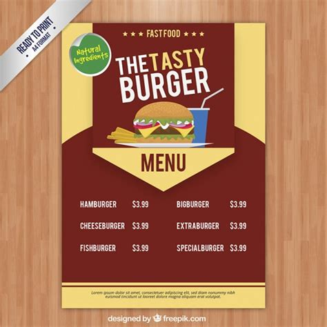 burger menu template tasty burger menu template vector free