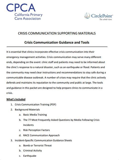 crisis communication plan template 3 free word