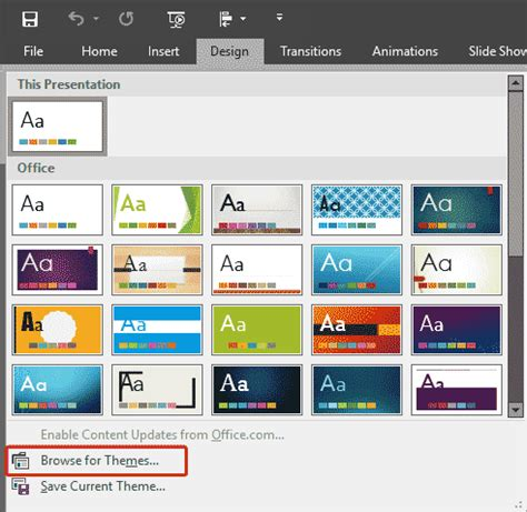 themes for windows 7 powerpoint applying themes in powerpoint word and excel 2016 for