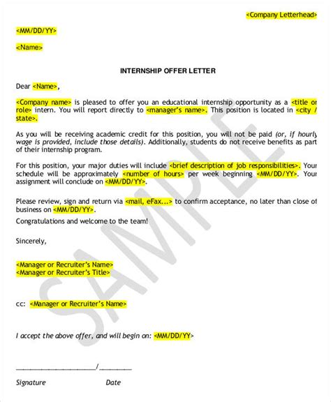 Offer Letter Company Internship Offer Letter Template 6 Free Word Pdf Format Free Premium Templates