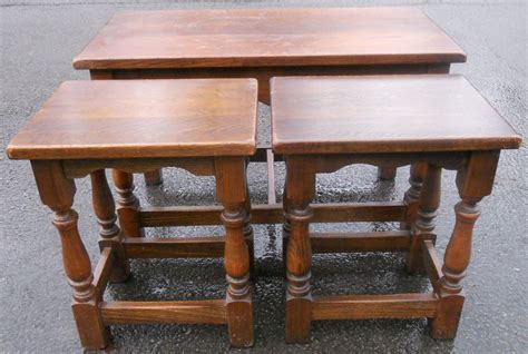 Antique Style Oak Coffee Nest Of Tables Nest Of Coffee Tables Oak