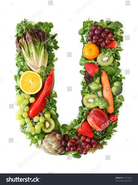 u vegetables fruit and vegetable alphabet letter u stock photo