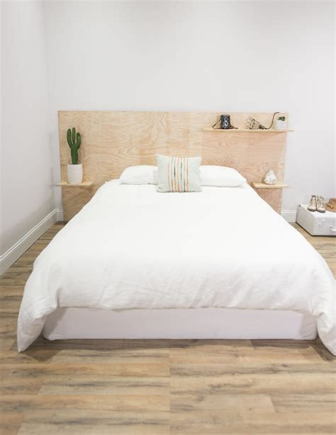 plywood headboard ideas mr kate diy minimalist plywood shelf headboard