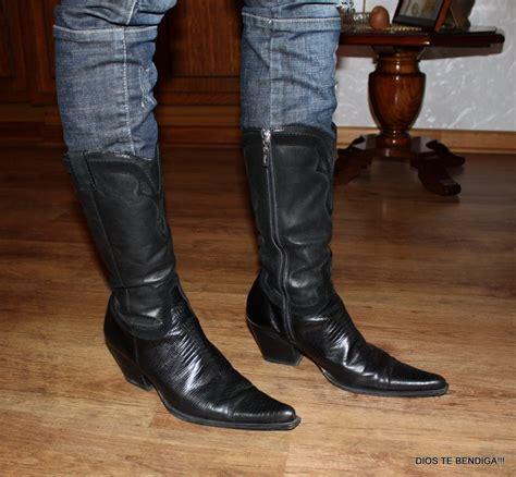 imagenes botas vaqueras para mujer botas vaqueras negras puntudas gacel cuero fino 37 38