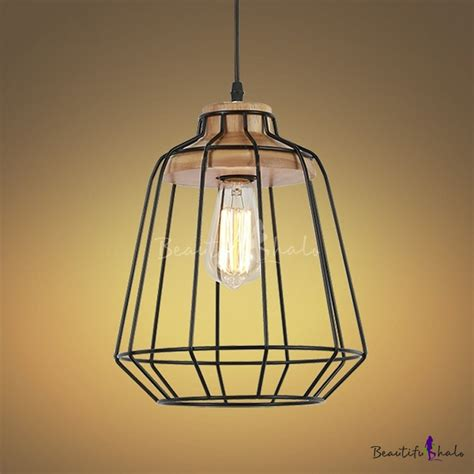 1 light pendant light with black wire frame shade and wood