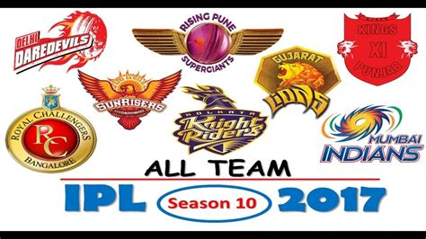 ipl matches list season 10 ipl 2017 all player team list season 10 youtube