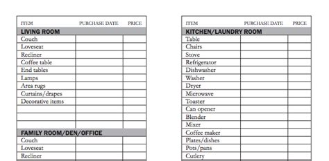 Home Inventory by Household Inventory List Template Template Inventory