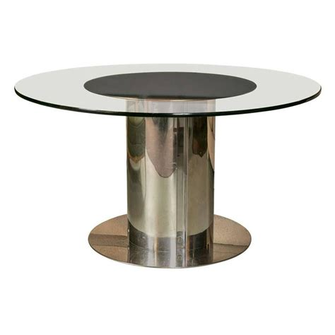 1980s chrome and glass dining table for sale at 1stdibs