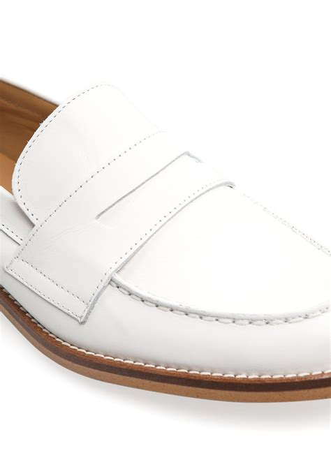 white leather loafers womens lyst mango leather loafers in white