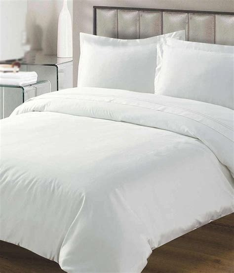 fresh  loom white plain cotton double bedsheet   pillow cover buy fresh  loom