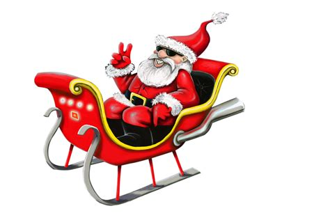 santa claus with sleigh png