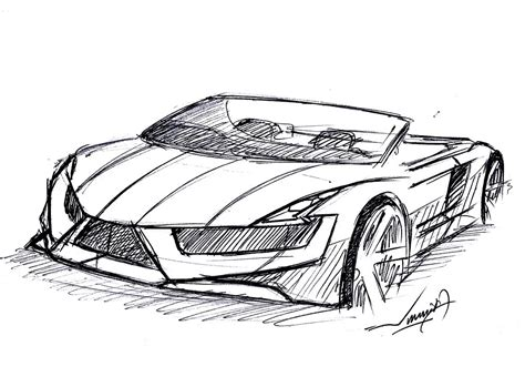 supercar drawing how to draw a convertible car 9
