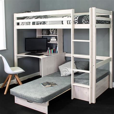 high sleeper loft beds with sofabed futon sofa desk storage family window High Sleeper With Desk And Futon