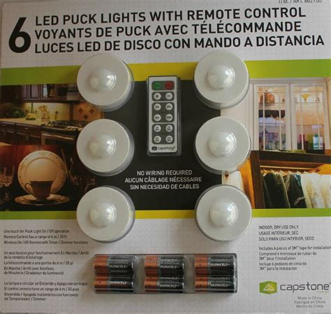 6 X Wireless Puck Led Lights Under Cabinet With Remote