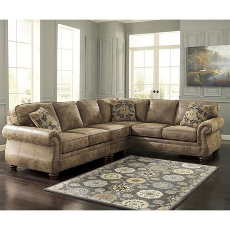 ashley 3 piece sectional ashley larkinhurst 3 piece faux leather sectional in earth