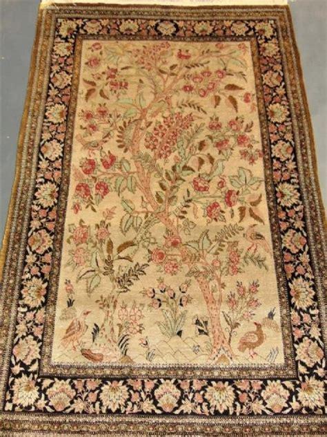 kashmir silk carpet tree of loveantiques