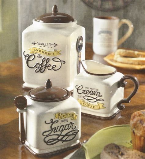 Brown Kitchen Canister Sets new coffee themed canister sugar bowl amp creamer kitchen