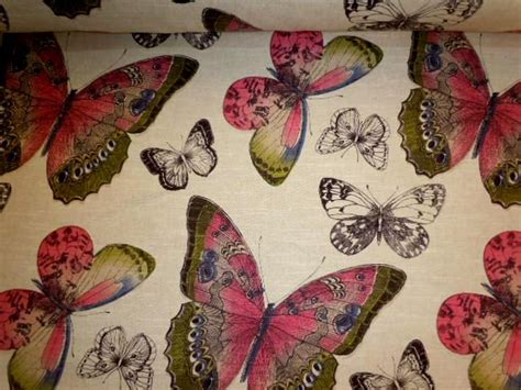 designer home decor fabric pattern butterflies linen decorator fabric
