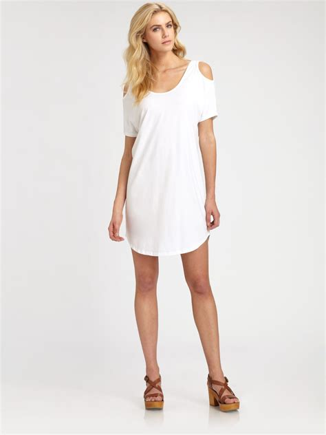 Aiko Bag aiko cold shoulder dress in white lyst