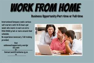 Online Business Work From Home Opportunity - work from home opportunity work from home online work