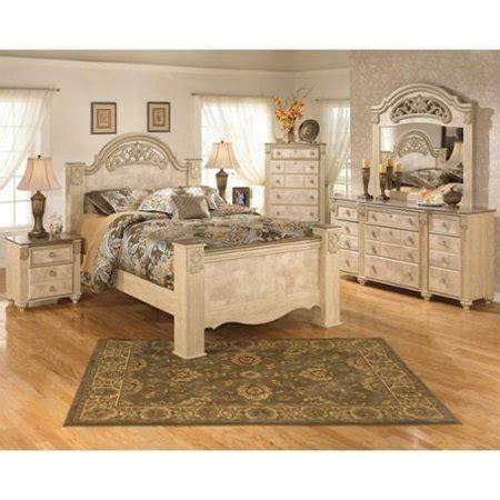 ashley saveaha  piece wood queen panel bedroom set  beige walmartcom