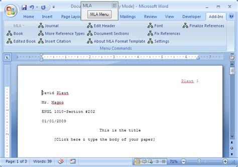 mla word template mla template screenshots