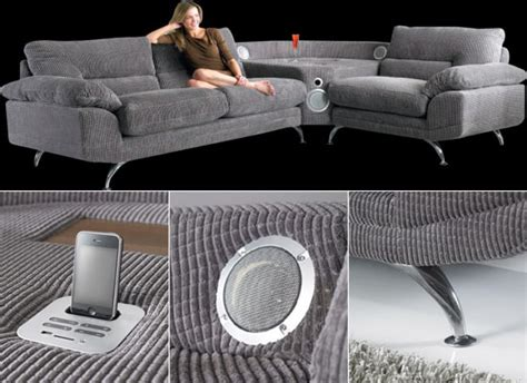 music on the couch the innovative sounds sofa with a built in iphone ipod dock