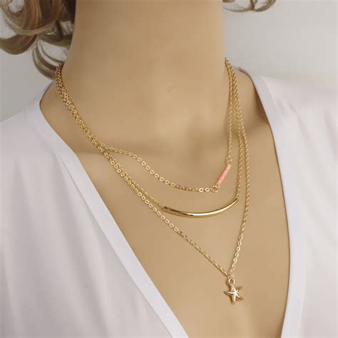 best necklaces for short necks in women charm women simple golden two three layers short necklace