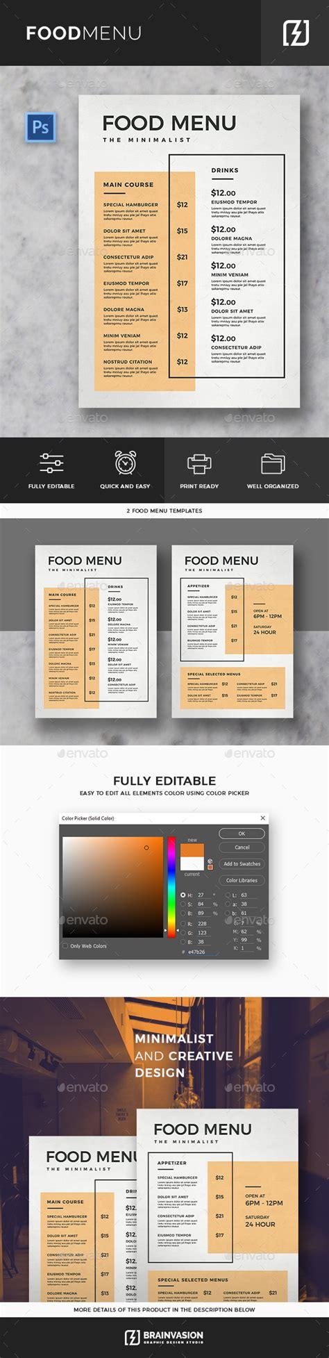 Minimal Food Menu Template By Brainvasion Graphicriver Minimal Menu Template