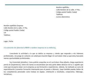 Modelo De Carta De Presentacion Que Acompaña Al Curriculum Vitae Modelo De Carta De Autocandidatura Modelo Curriculum