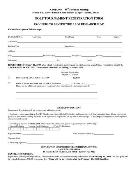 free registration form template golf tournament